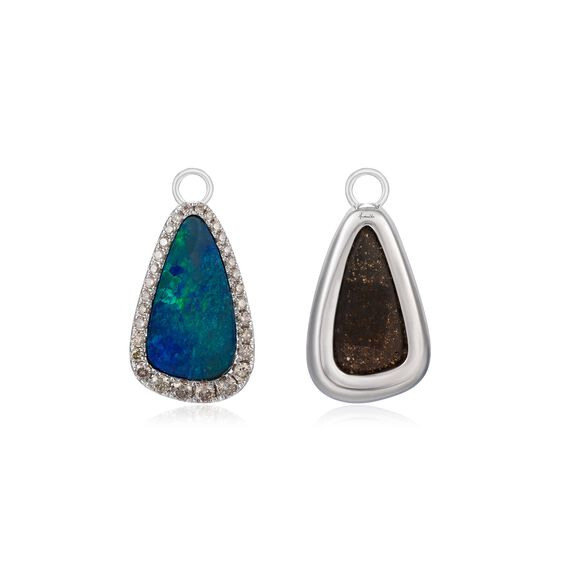 Unique 18ct White Gold Opal Earring Drops | Annoushka jewelley
