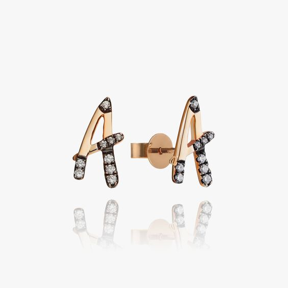 Personalised Rose Gold Chain Letters Ear studs