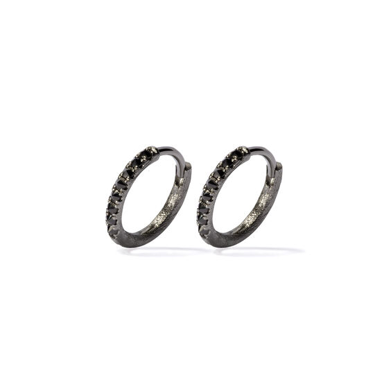 Dusty Diamonds 18ct White Gold Black Diamond 12mm Hoops | Annoushka jewelley