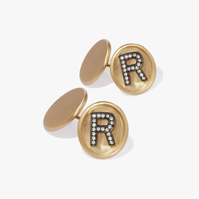 18ct Satin Gold Diamond Initial R Cufflinks
