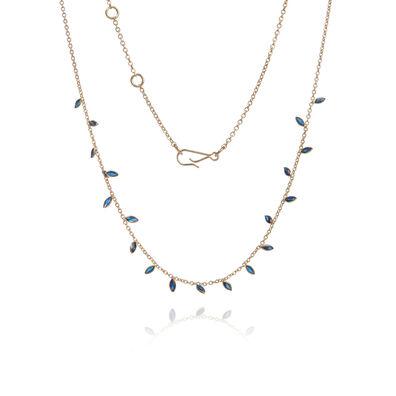 18ct Gold Sapphire Vine Leaf Necklace
