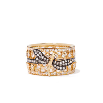 Dragonfly Crown Ring Stack in 18ct Yellow Gold