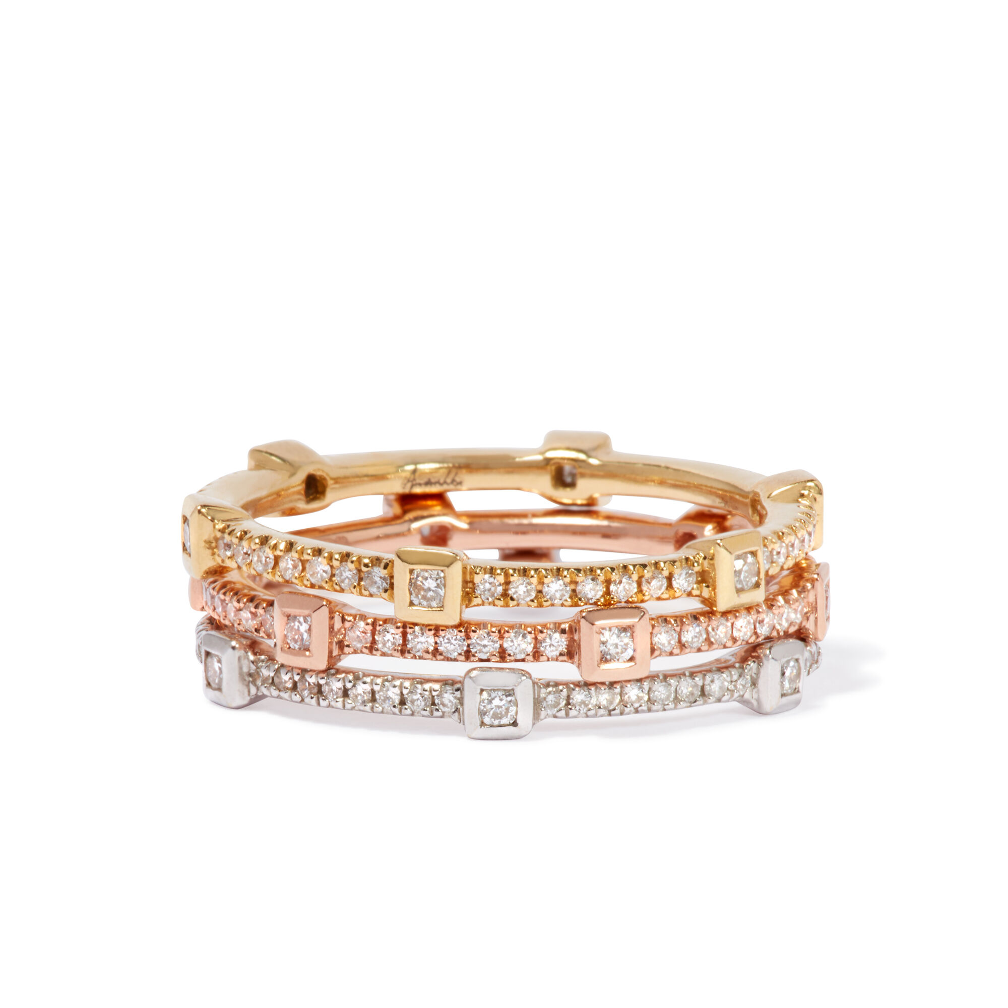 e52dacc0355124 Pavilion Diamond Ring Stack In 18ct Mixed Golds. Click to expand