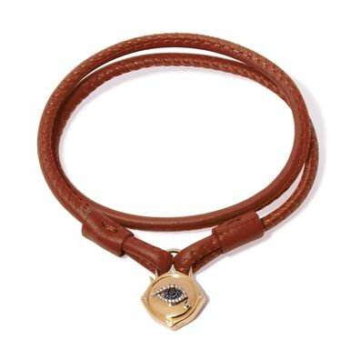 Lovelock 18ct Gold 35cms Brown Leather Evil Eye Charm Bracelet