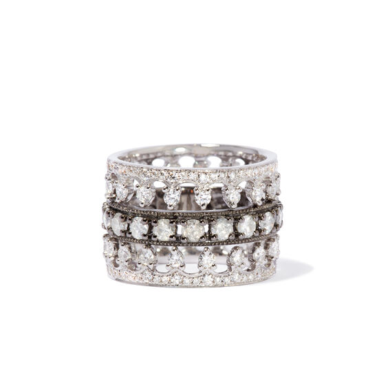 Crown Diamond Ring Stack in 18ct White Gold