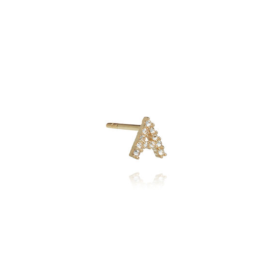 18ct Gold Diamond Initial A Single Stud Earring