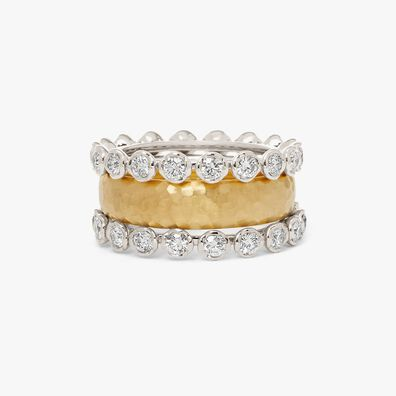 18ct Gold Organza and Marguerite Diamond Eternity Ring Stack