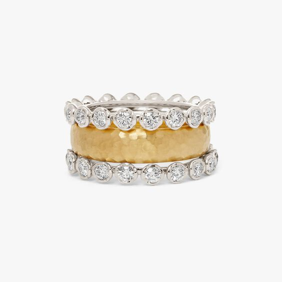 18ct Gold Organza and Marguerite Diamond Eternity Ring Stack | Annoushka jewelley