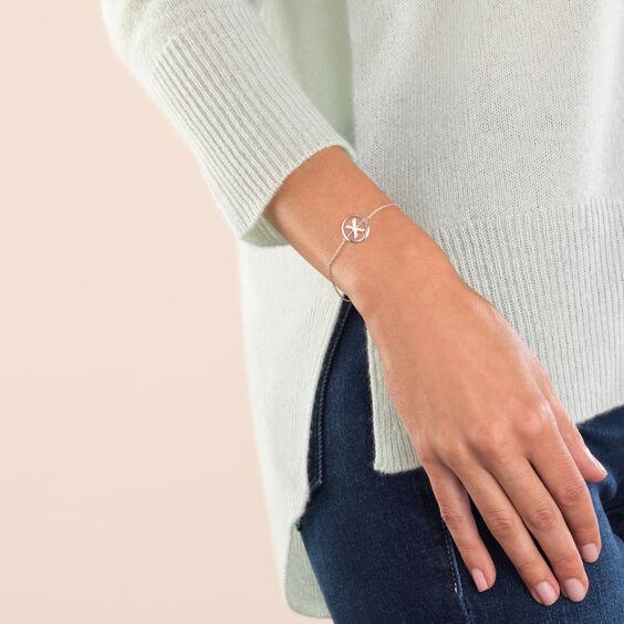 18ct White Gold Diamond Initial X Bracelet