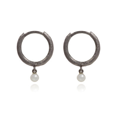 Hoopla 18ct White Gold Pearl Hoop Earrings