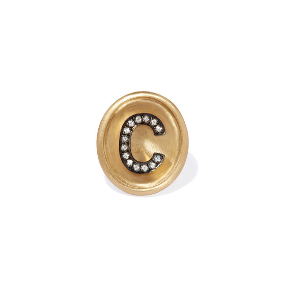 18ct Gold Diamond Initial C Face | Annoushka jewelley