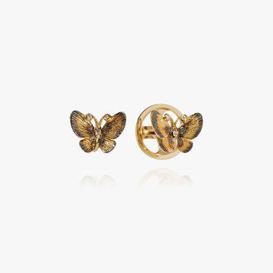 Butterflies 18ct Gold Diamond Stud Earrings