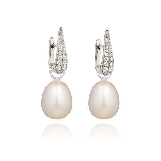 18ct White Gold Pearl Diamond Earrings