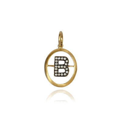 18ct Gold Diamond Initial B Pendant