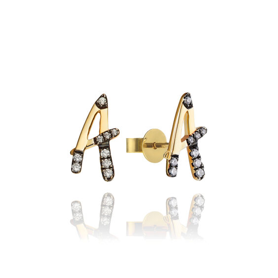 Personalised Gold Chain Letters Ear studs | Annoushka jewelley