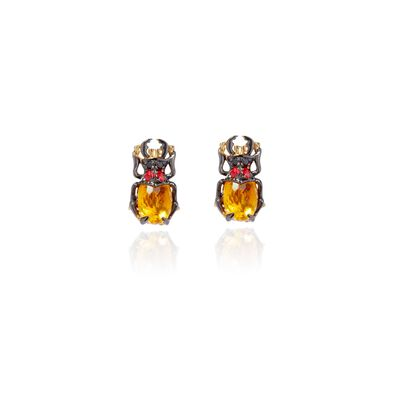 Mythology 18ct Gold Citrine Beetle Studs