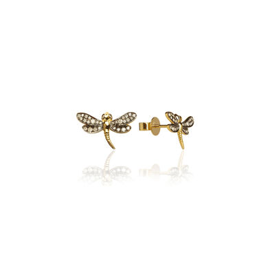 Love Diamonds 18ct Gold Diamond Dragonfly Studs