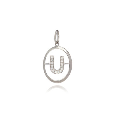 18ct White Gold Initial U Pendant