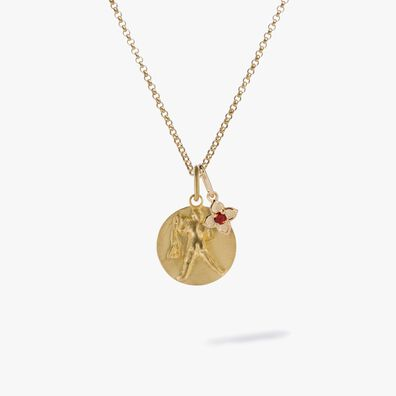 Gold Aquarius & Garnet January Birthstone Necklace