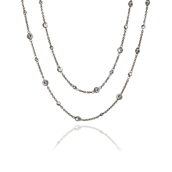 Nectar 18ct Rhodium Plated White Gold Sapphire Necklace | Annoushka jewelley