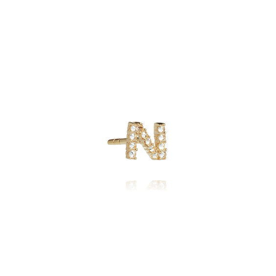 18ct Gold Diamond Initial N Single Stud Earring