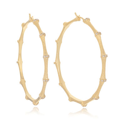 Bamboo 18ct Gold Diamond Large Hoop Earrings