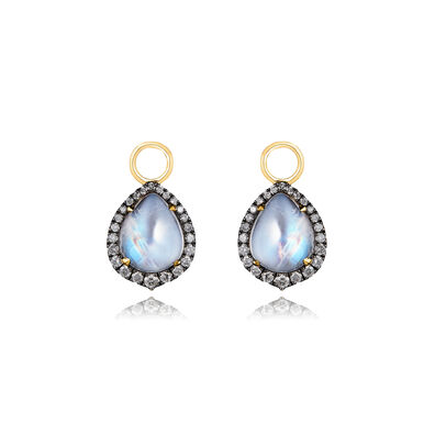 18ct Gold Moonstone Diamond Earring Drops