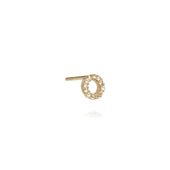 18ct Gold Diamond Initial O Single Stud Earring