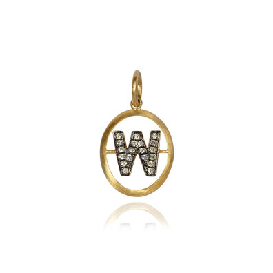 18ct Gold Diamond Initial W Pendant