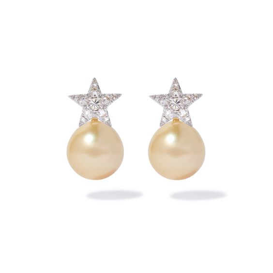 18ct White Gold Diamond South Sea Pearl Star Earrings | Annoushka jewelley