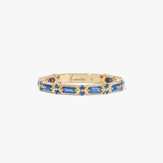 18ct Gold Blue Sapphire Baguette Ring | Annoushka jewelley