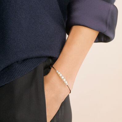 Diamonds & Pearls 18ct Rose Gold Bangle