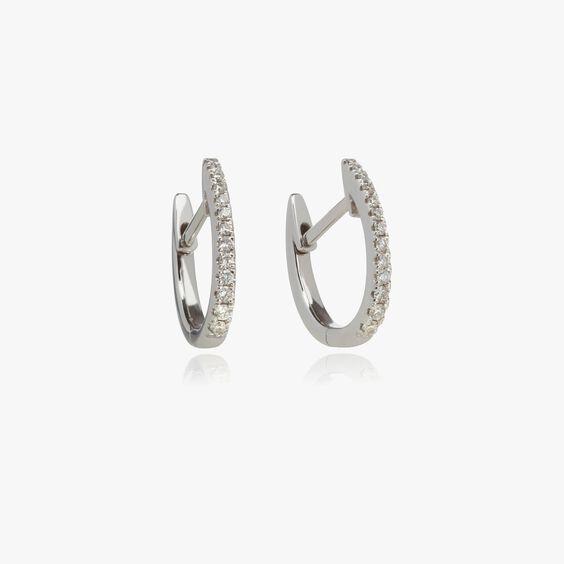 Eclipse 18ct White Gold Diamond Fine Hoop Earrings | Annoushka jewelley
