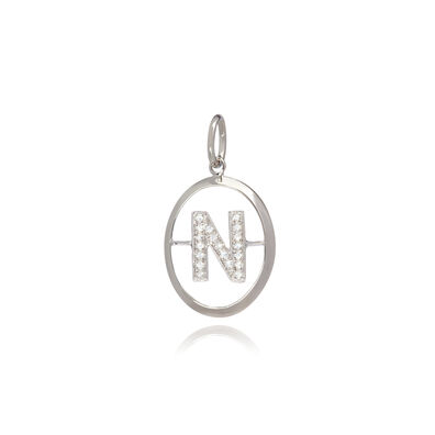 18ct White Gold Initial N Pendant