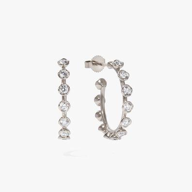 Marguerite WhiteGold Hoop Earrings