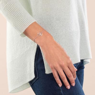 18ct White Gold Diamond Initial V Bracelet