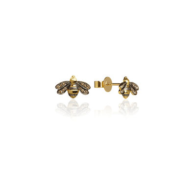 Love Diamonds 18ct Gold Diamond Bee Studs