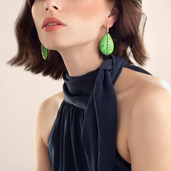 18ct Gold Nevada Turquoise Diamond Earrings