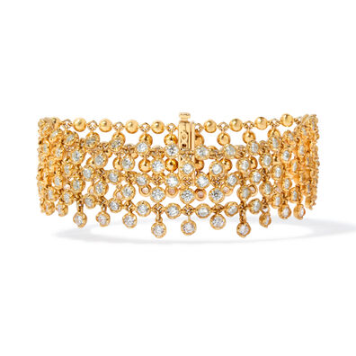 Lattice 18ct Gold Diamond Net Bracelet