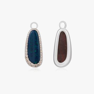 Unique 18ct White Gold Opal Earrings