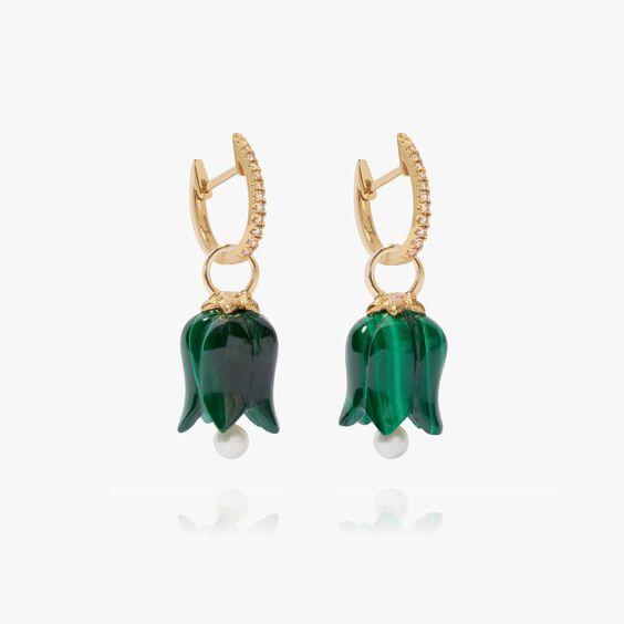 18ct Gold Malachite Pearl Tulip Earrings | Annoushka jewelley