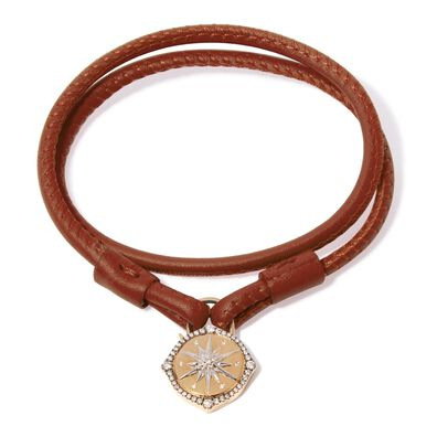 Lovelock 18ct Gold 41cms Brown Leather Star Charm Bracelet