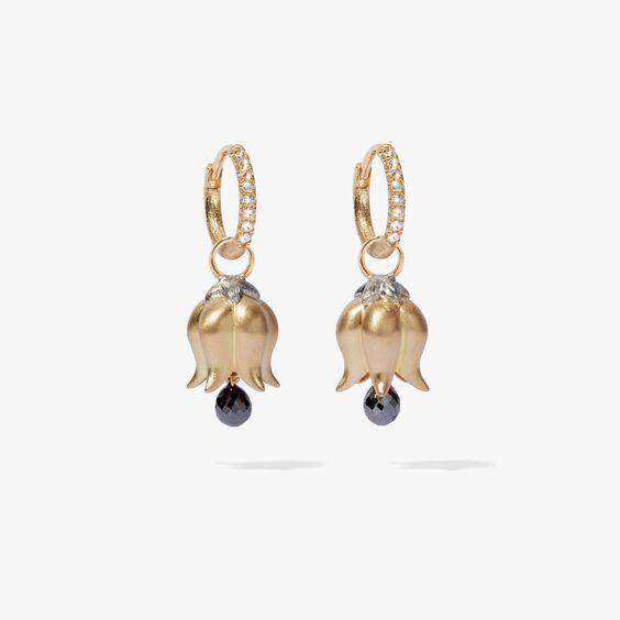 18ct Gold Tulip Diamond Drop Earrings