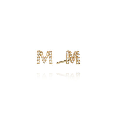 A pair of 18ct Gold Diamond Initial M Stud Earrings