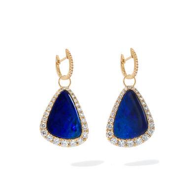 Unique 18ct Gold Opal Diamond Earrings