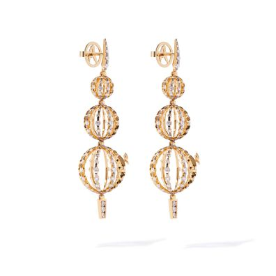 Unique 18ct Gold Diamond Orb Drop Earrings