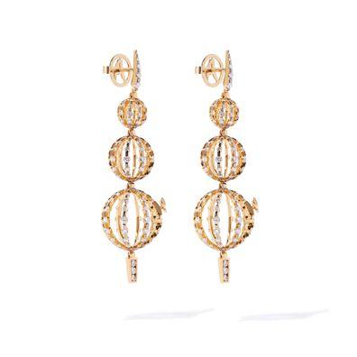 Unique 18ct Gold Diamond Orb Drop Earrings