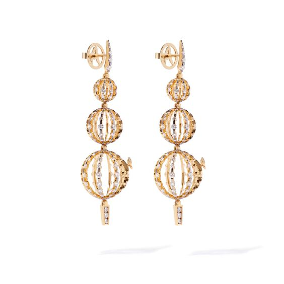Unique 18ct Gold Diamond Orb Drop Earrings | Annoushka jewelley