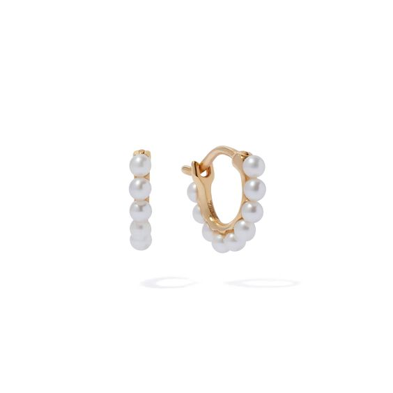 18ct Gold Pearl Hoop Mini Earrings | Annoushka jewelley