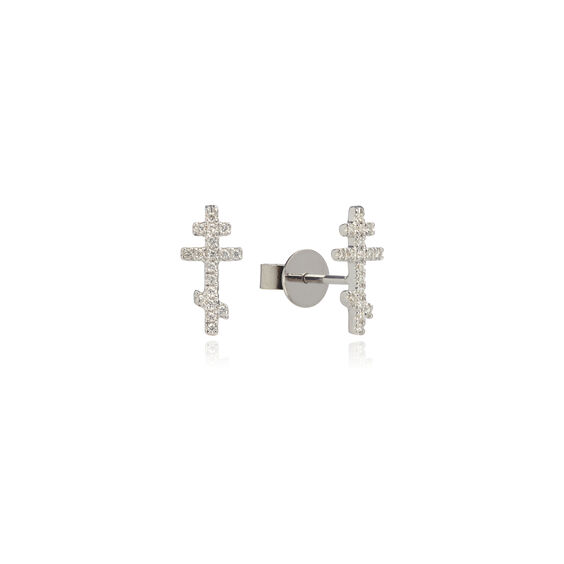 Love Diamonds 18ct White Gold Diamond Cross Studs